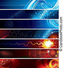 Web Banners - Set of abstract technology web banner