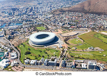 aerial view of downtown of Cape Town - aerial view of green...