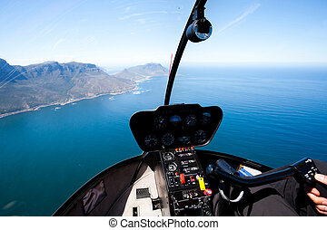 beautiful Cape Town coastal aerial view from helicopter