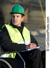 Supervisor Writing On Notepad At Site - Smart disabled...