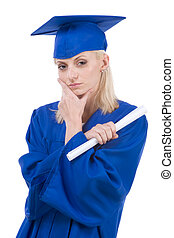 Graduation young woman student in graduation gown - Young...