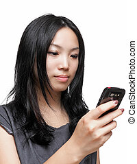 woman sms text message on phone