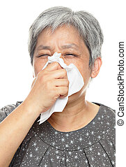 sneezing mature woman