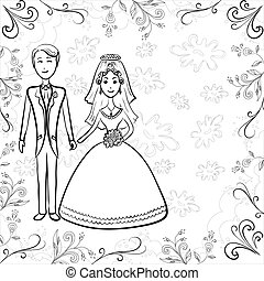 Bride and groom on floral background, contour - Cartoon,...