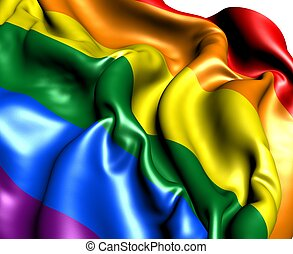 LGBT Flag. Close Up. 3D.
