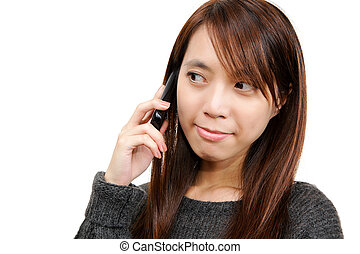 asian woman using cellphone