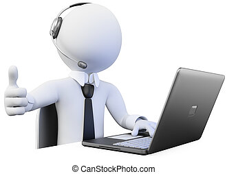 3D Operator working in a call center Rendered at high...