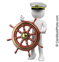 3D Captain sailing a wooden rudder. Rendered at high...