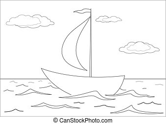 Ship floats in the sea, contours