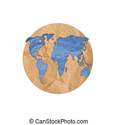 Clip art of paper into the world on white background