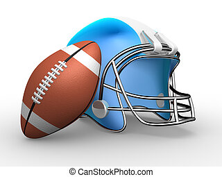 American football. Helmet and ball. 3d render illustration