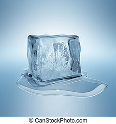 Ice cube with water drop
