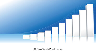 Vector illustration of statistical graph with increasing