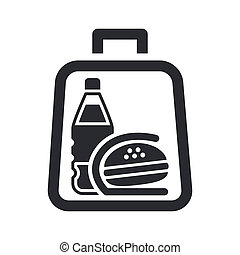Vector illustration of single isolated icon depicting a sandwich and drink in a bag