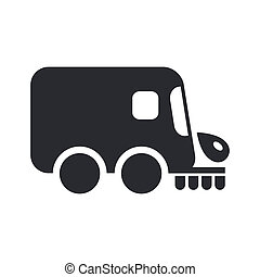 Vector illustration of single isolated icon depicting a road cleaner