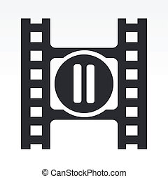 Vector illustration of modern icon depicting a pause button of a video player