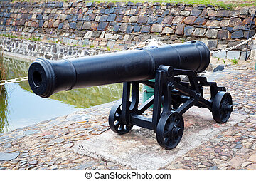antique cast iron cannon at castle of good hope, cape town