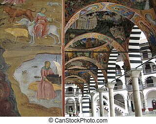 Painted cloisters on the Rila Monas - Beautifully painted...