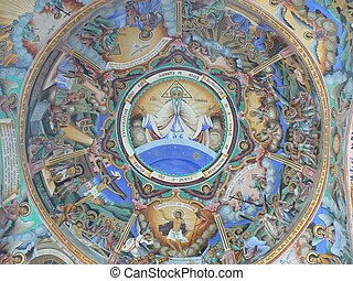 Religious mural on the Rila - Religious mural with God at...