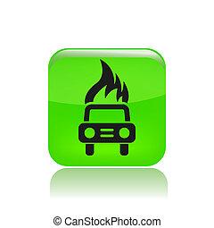 Vector illustration of car burning icon
