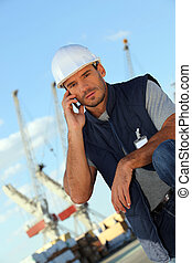Man on an oil platform