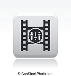 Vector illustration of single isolated video player icon