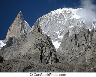 Peaks of the Karakoram range, as seen from Karimabad