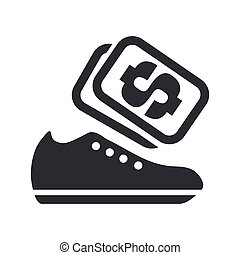 Vector illustration of shoes sale single isolated icon