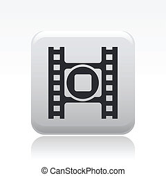 Vector illustration of single isolated video stop icon