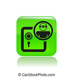 Vector illustration of single isolated bank thief icon