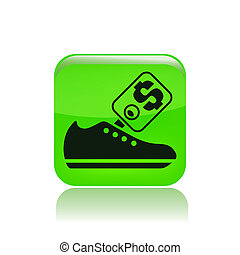 Vector illustration of single isolated shoe price icon
