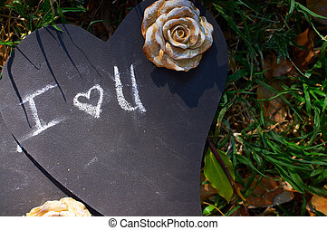 I Love you words on black board