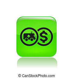 Vector illustration of single isolated ambulance cost icon