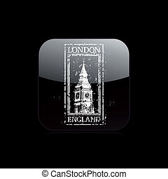 Vector illustration of single isolated London print icon