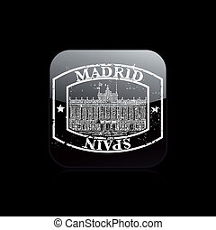 Vector illustration of single isolated Madrid stamp icon