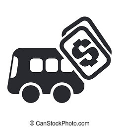 Vector illustration of single isolated bus cost icon