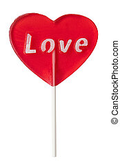 Sweet love lollipop isolated on the white background