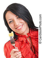 Young girl in red, with a delicious