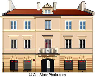 Building facade - Classic town building facade Color vector...