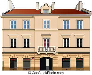 Building facade - Classic town building facade. Color vector...