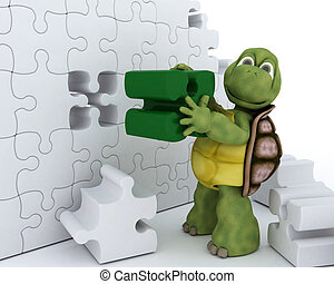 Tortoise with jigsaw puzzle