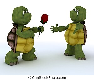 tortoise with romantic gift - 3D render of a tortoise with...