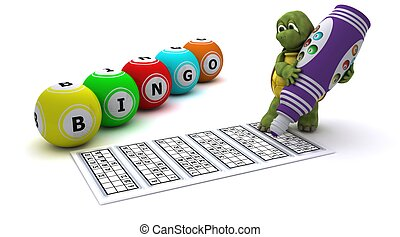 Tortoise playing bingo - 3d render of a Tortoise playing...