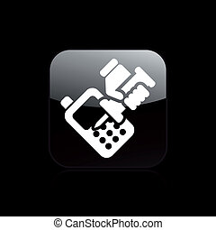 Vector illustration of single isolated phone repairer icon