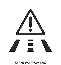 Vector illustration of single isolated road danger icon