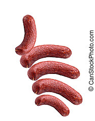 I like - favorite group of sausages on a white background