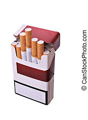 Open pack of cigarettes on a light background