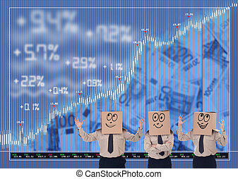 Blind stock traders cheering - Stock market traders blinded...
