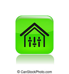 Vector illustration of single isolated house levels icon