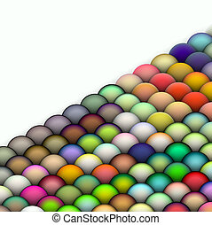 isometric 3d render of balls in multiple bright colors